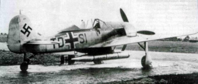 Fw 190A-5/U14, IV. Nr. 871, TD+SI. Самолет оснащен бомбодержателем ETC 502, на котором подвешена торпеда LTF5b. Стойка хвостового колеса удлинена, чтобы торпеда не цеплялась хвостовой частью за землю. Испытания самолета закончились неудачно и проект U14 свернули.