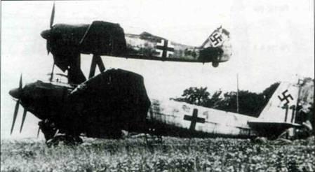 Учебный «Mistel S2», состоящий из Fw 190 (вероятно, А-8) и пилотируемого Ju 88G. Обратите внимание на отсутствие тактических обозначений на самолетах.