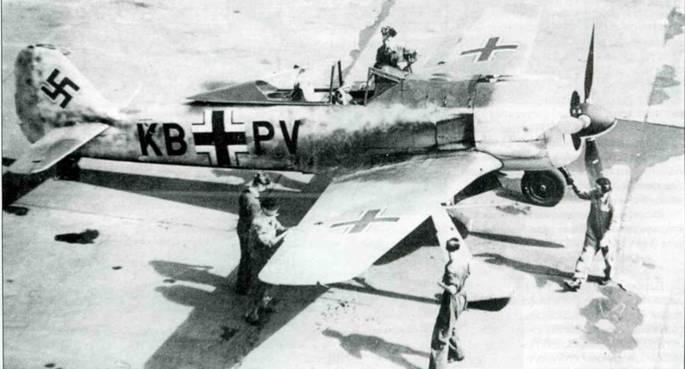 Fw 190A-0, II: Nr. 0020, KB+PV на заводском аэродроме в Бремене. Самолет несет новый камуфляж RLM 74/75/76.