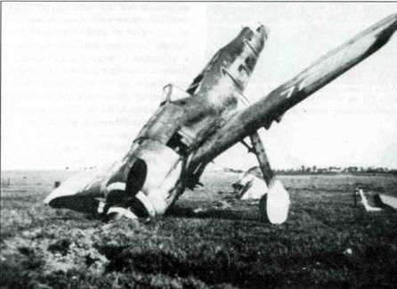Сбитый Fw 190F-8/R1 с бомбодержателями ЕТС 71 под крыльями. Самолет принадлежал III-й группе неизвестного полка, Германия, 1945 год.
