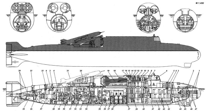 Внешний вид и схема общего расположения пр. 653 АПЛ, вооруженной двумя стратегическими КР комплекса П-20: