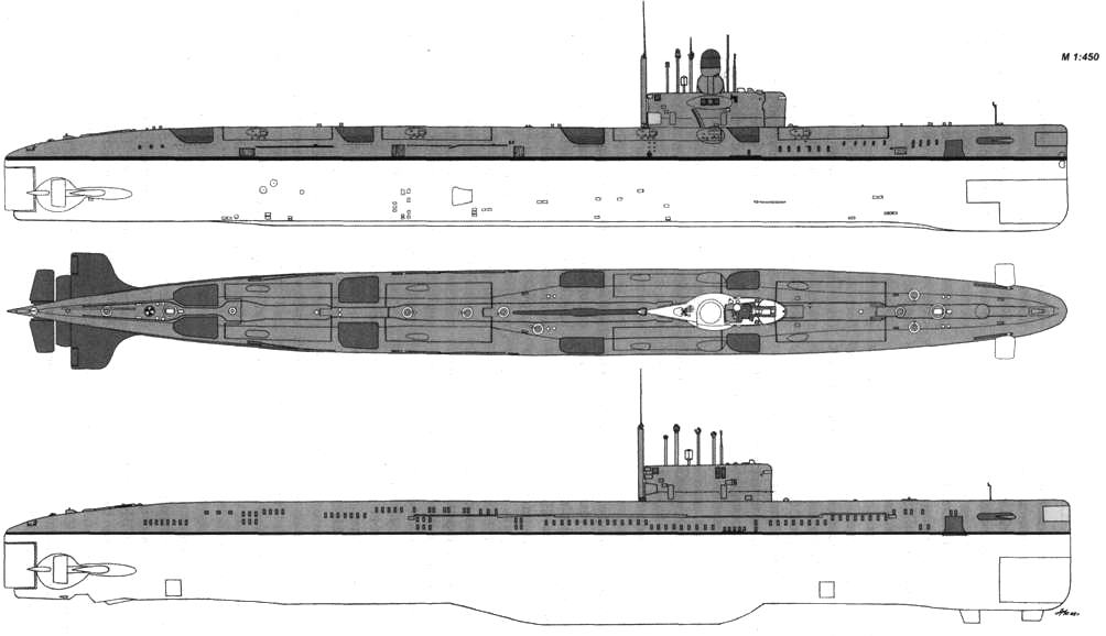 Внешний вид АПЛ пр. 675МК (вверху) и К-86 после переоборудования по пр. 675Н
