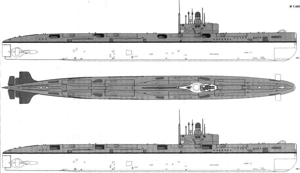 Внешний вид АПЛ К-22 (вверху) и К-1 после модернизации по пр. 675МКВ
