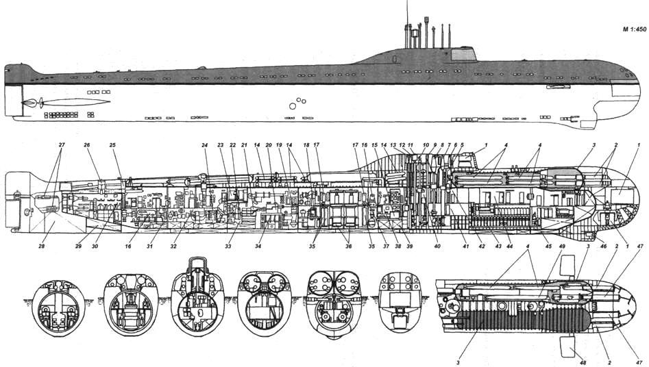 Внешний вид и схема общего расположения пр. ПТ-627А АПЛ, вооруженной 650-мм ТА: