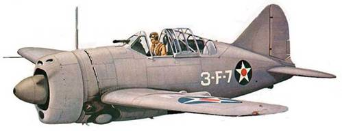 F2A-2 из VF-3. Самолет целиком выкрашен в серый цвет. Такой камуфляж ввела в начале 1941 года. Эскадрилья VF-3 базировалась на борту авианосца «Саратога».