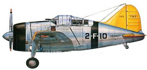 F2A-2 (Bu№1415) из VF-2. авианосец «Лексингтон», весна 1941 года. На фюзеляже видна белая буква «Е» (excellence), которая украшала машины отличников боевой подготовки.