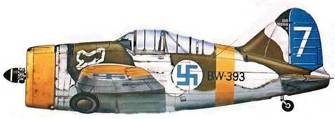 Финский истребитель «Модель 239» (BW-393) из l./LcLv 24. Суулаярви, Финляндия, зима 1943 года. Желтые элементы быстрой идентификации германского образца несли все финские самолеты.
