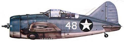 F2A-3 (Bu№1612) из учебного отряда базы Джексонвиль, Флорида, Август 1943 года. Лишь немногие «Баффало» получили тррехцветный морской камуфляж: Dark Sea B/ue/Intemediate Blue/Non-Specular While.