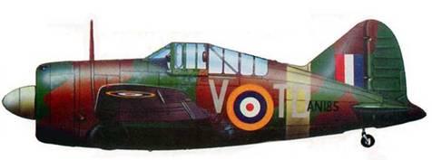 Английский истребитель «Модель 339E»/«Баффало Mk.l» (AN 185) из звена «А» 453-й австстрийской эскадрильи, Сембаванг, остров Сингапур, декабрь 1941 года. Самолет пилотировал командир звена флайт-лейтенант Р.Д. Вандерфилд, сбивший на «Баффало» 4 японских самолета. Самолет несет стандартный английский камуфляж тип «А»