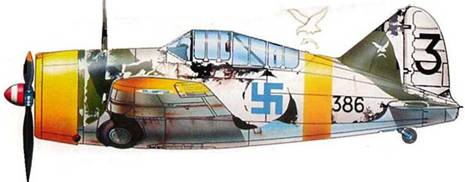 Финский истребитель «Модель 239» (BW -386) из 4./LeLv 24, Кондопога, район Онежского озера, весна 1942 года. На этой машине летал сержант С. Иконен, заявивший 4 победы. Самолет в зимнем камуфляже. Белой смываемой краской закрыты черные сегменты стандартного камуфляжа. Белая краска частично смылась дождем. Кок красный с белой полосой. На киле эмблема эскадрильи — скопа. На фюзеляже эмблема полка — рысь. Белый руль направления с черной цифрой «3».