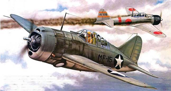 Американский истребитель F2A-3 (Bu№1553) из VMF-221, битва за Мидуэй. 4 июня 1942 года. Самолет пилотировал капитан Уильям Хамдерд, сбивший в тот день японский истребитель А6М2 «Зерo» с авианосца «Акаги». За это пилот был представлен к Военно-морскому кресту. Самолет несет типичный камуфляж того периода. Сверху машина окрашена сине-серой (М-485 Non-Specular Blue Gray — FS 35189) краской. а снизу — светло-серой (M-495 Non-Specular light Gray — FS 36440). Внутренние поверхности самолета покрыты желто-зеленым грунтом (Zinc Chromate Premier — FS 33481).