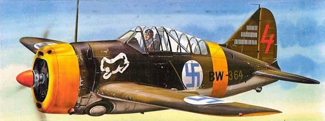 Финский истребитель «Модель 239» (BW-364) из 3./LeLv 24, Суулаярви, Финляндия, ноябрь 1942 года. На этом самолете обычно летал фельдфебель Юутилайнен, лучший ас ВВС Финляндии.