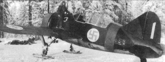 «Брюстер» из 2./LeLv 24, оснащенный лыжным шасси. С лыжами стойки шасси не убирались, поэтому характеристики самолета заметно ухудшались.