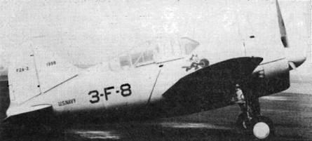 F2A-2 из VF-3 в довоенной серебристой окраске с желтыми крыльями. Хвост и верхняя половина капота белая — отличительные знаки авиагруппы авианосца «Саратога». Эмблема VF-3 — Кот Феликс — на борту под фонарем.