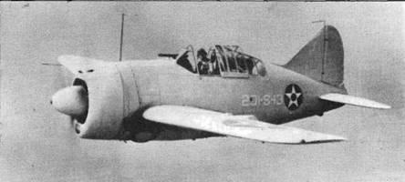 F2A-2 из VS-201. Эта смешанная эскадрилья с эскортного авианосца «Лонг-Айленд» получила восемь истребителей, переделанных из F2A-L Самолет выкрашен в светло-серый цвет. Тактический номер 201-S- 13. Опознавательные знаки на бортах фюзеляжа^ верхней стороне левого крыла и нижней стороне правого крыла. Все буквы и цифры нанесены белой краской.