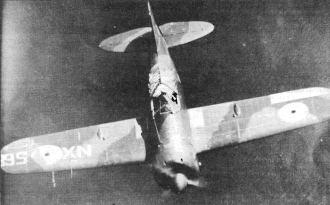 Первый бельгийский истребитель «Модель 339В» проходит испытания над Атлантикой. Самолет получил временную гражданскую регистрацию NX-56B, литеры которой выложены широким белым пластырем на крыле. Этот самолет был захвачен гитлеровцами в Бордоу Франция.