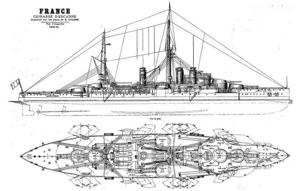 """Линейный корабль """"Франс"""". 1914 г. (Наружный вид и вид сверху)"""