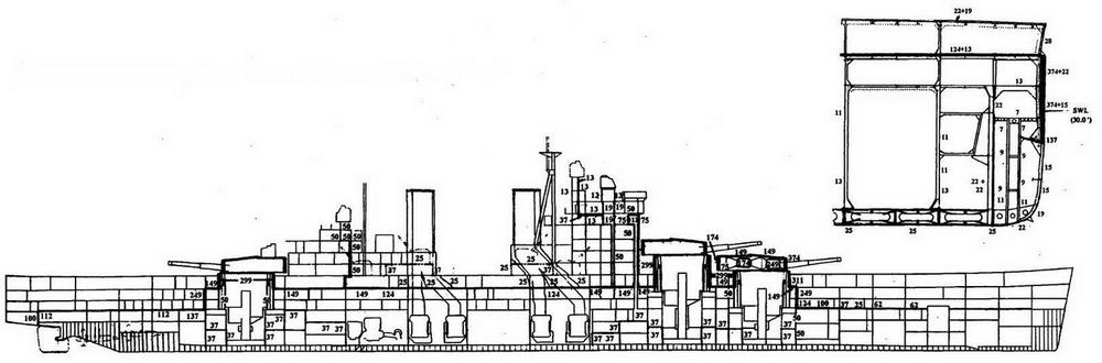 Продольный разрез и мидель <a href='https://arsenal-info.ru/b/book/2587171837/1' target='_self'>линейного корабля</a> «Лайон»