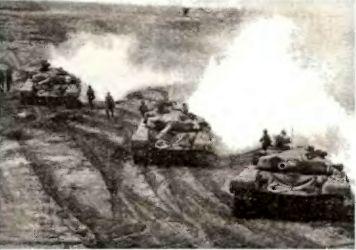 Учебные Т-72 в учебной атаке на учебном полигоне