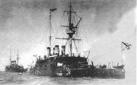 """""""Наварин"""" и """"Ослябя"""" на Ревельском рейде. 1904г."""