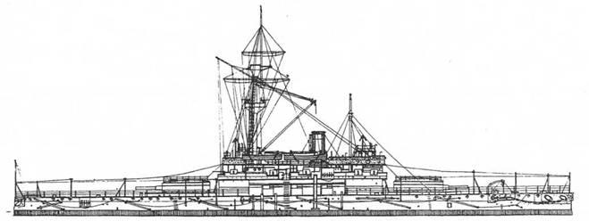 """Броненосец """"Трафальгар"""". 1890г. (Наружный вид)"""