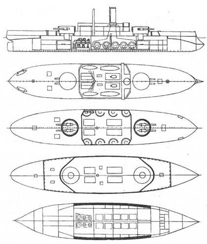 Проект броненосного корабля водоизмещением 9200т, представленный инженером П.К. Дю-Бюи в Морской Технический Комитет в октябре 1888г.
