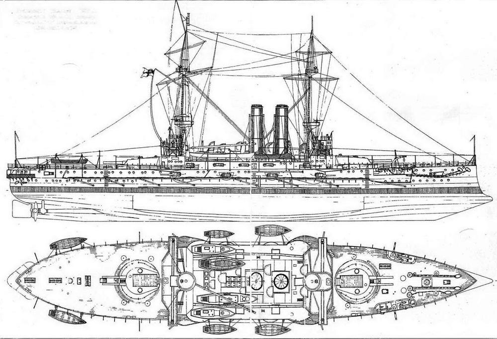 """Броненосец """"Канопус"""". 1900 г. (Наружный вид и вид сверху) Из книги Burt R.A. British Battleships 1889-1904. L.1988."""