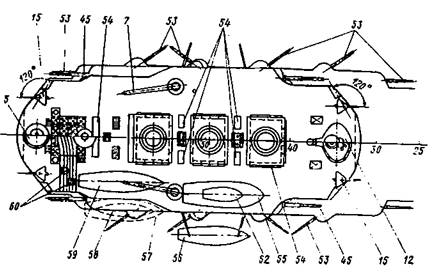 7 — кают-компания; 2 — вельбот; 3 — башня 305-мм орудий; 4 — адмиральское помещение; 5, 12 — кормовая и носовая боевые рубки; 6, 11 — офицерские каюты; 7 — кран для подъема катеров (установлен не был); 8 — 14-весельный катер; 9, 33 — командный и офицерский камбузы; 10 — командный буфет; 13 — каюта старшего штурмана; 14 — носовой шпиль; 15 — 75- мм орудие; 16 — кают-компания кондукторов; 17- шхиперская; 18 — носовой подводный минный аппарат (установлен не был); 19,22- сухая и мокрая провизионные; 20 — запасная якорь-цепь; 21 — отделение предполагавшееся по проекту для хранения головных частей торпед (носовые отделения были упразднены); 23 — каюта боцманов; 24 — зарядный погреб 305-мм орудий; 25 — погреб 152-мм орудий; 26 — корабельная церковь; 27 — боевой пост; 28 — перевязочный пункт; 29 — погреб 203-мм орудий; 30, 36 — котельное и машинное отделения; 31 — погреб 75-мм патронов; 32 — баня машинной команды; 34 — пародинамомашина; 35 — судовая мастерская; 37, 38-отделения бортового подводного минного аппарата, трюмных помп и насосов; 39 — привод кормового шпиля; 40, 41 — штурвальное и румпельное отделения; 41 — трос и перлини; 43 — провизионная; 44 — колпак элеватора подачи боезапаса; 45 — 203-мм орудие; 46 — люк ручной подачи боезапаса; 49, 51 — офицерские каюты; 52 — 6-весельный ял;47 — машинный люк; 48- спальня адмирала; 50 — судовая канцелярия; 53 — 152-мм орудие; 54 — коечные сетки; 55 — 20-весельный барказ; 56- 14- весельный катер; 57 — 6-весельный барказ; 58 — 6-весельный вельбот; 59–12,2- метровый паровой катер; 60 — прожектор.