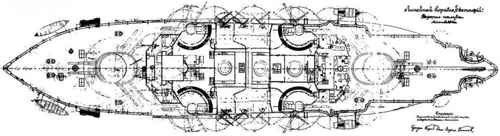 """Линейный корабль """"Евстафий"""". 1908г. (Верхняя палуба) РГА ВМФ Ф. 876. On. 37. д. 12."""