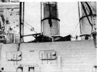 """Повреждения на линкоре """"Евстафий"""", полученные в бою у мыса Сарыч. 5/16 ноября 1914г."""