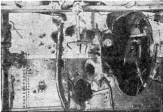 """Повреждения на линкоре """"Евстафий"""", полученные в бою у мыса Сарыч. 5/18 ноября 1914г."""
