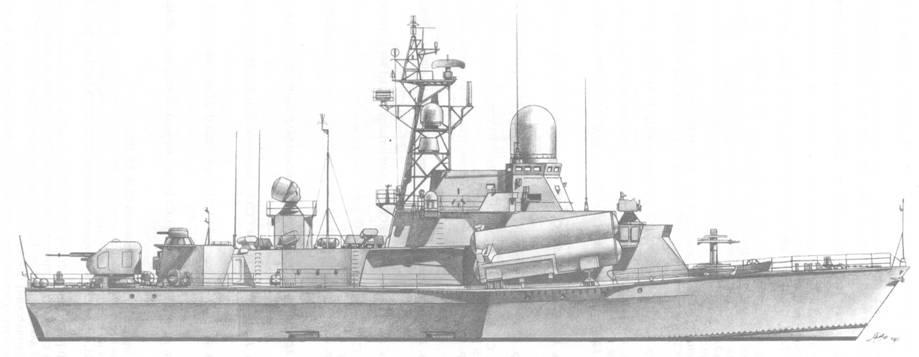 Малый ракетный корабль Штиль (пр. 12341) с АП РЛС «Дубрава» и АП канала приема целеуказания РЛК «Монолит»