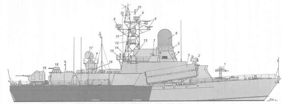 Схема внешнего вида малого ракетного корабля пр. 12347