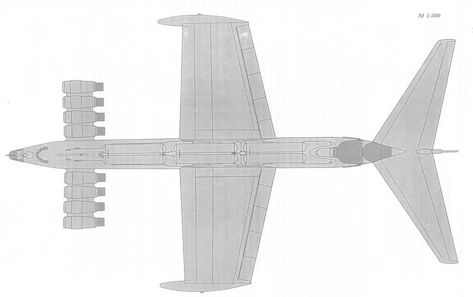 Схема внешнего вида малого ракетного корабля – экраноплана пр. 903 (вид сверху)