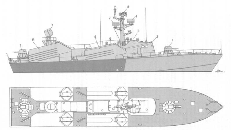Схема внешнего вида ракетного катера пр. 205