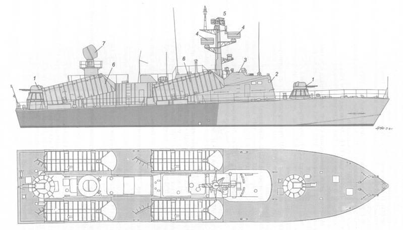 Схема внешнего вида ракетного катера пр. 205У