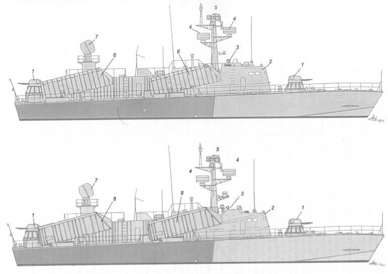 Схема внешнего вида ракетных катеров пр. 205ЭР (вверху) и пр. 205Мод (внизу):