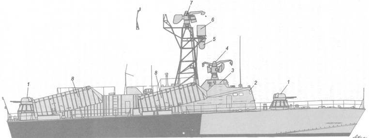 Схема внешнего вида ракетного катера Р-161 после модернизации по пр. 205ЭМ-.