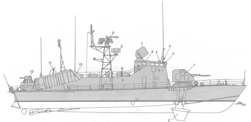 Схема общего расположения ракетного катера пр. 206МР.