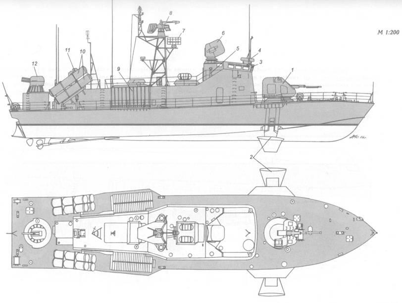 Схема внешнего вида ракетного катера пр. 2066 на момент вступления в строй: