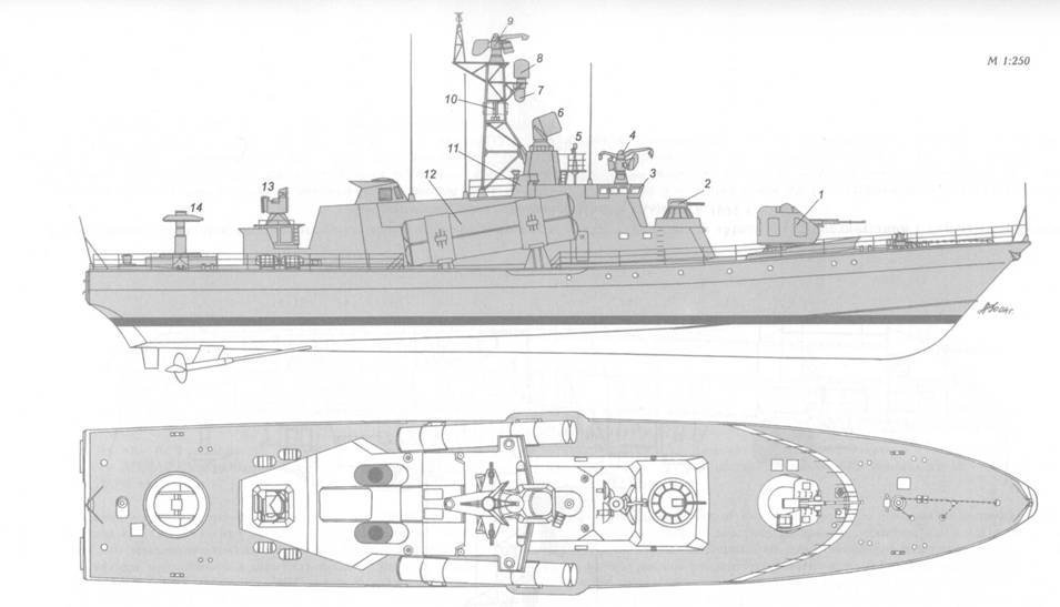 Схема внешнего вида малого ракетно-артиллерийского корабля пр. 1241.1 (шифр «Молния») в соответствии с первым вариантом аванпроекта, предложенного ЦМКБ «Алмаз» в 1971 г.: