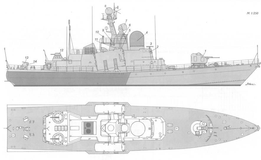 Схема внешнего вида ракетного катера пр. 1241.1