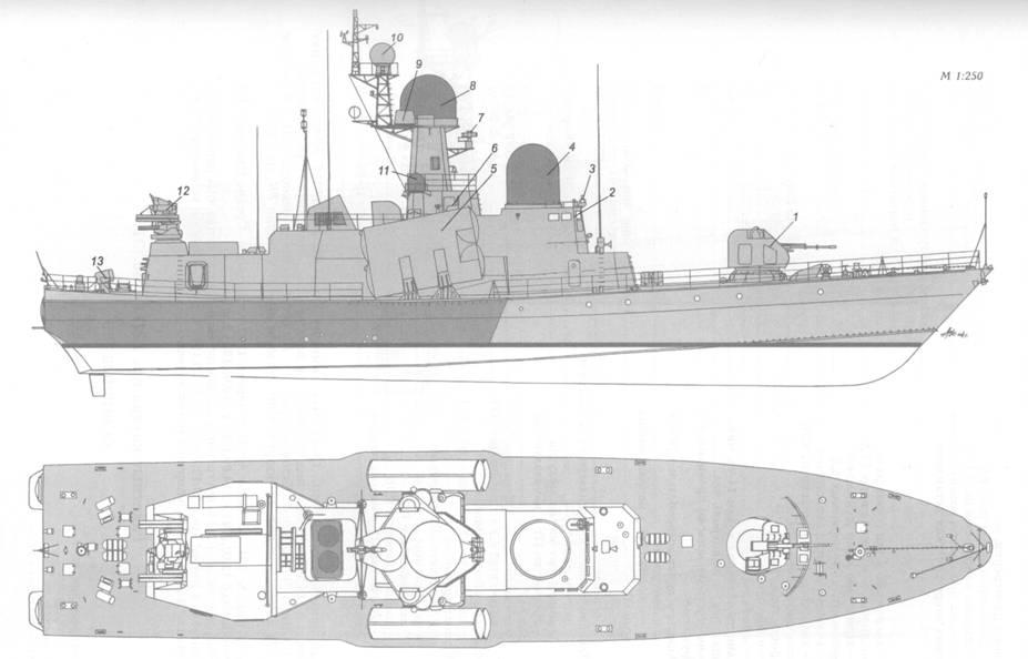 Схема внешнего вида ракетного катера пр. 12417