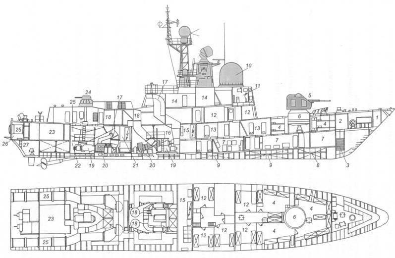 Схема общего расположения ракетного катера пр. 12411