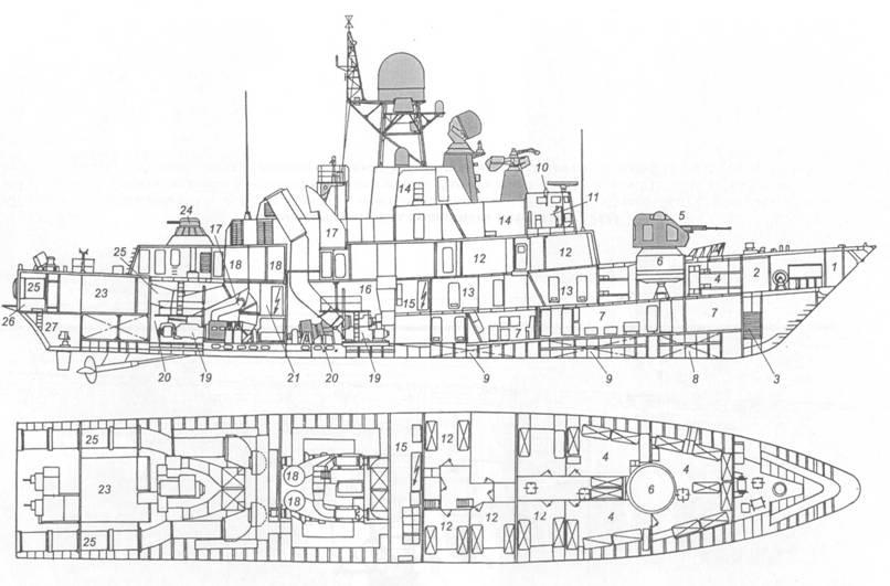 Схема общего расположения ракетного катера пр. 12421