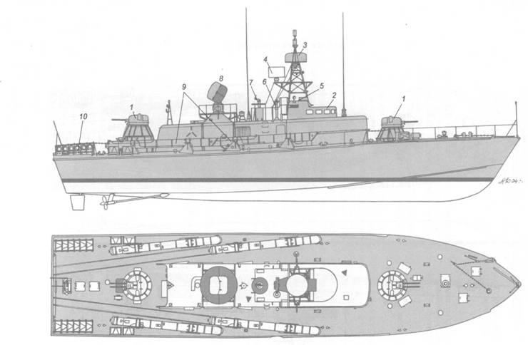 Схема внешнего вида торпедного катера пр. 206;.