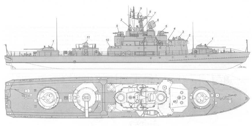 Схема внешнего вида малого артиллерийского корабля пр. 1208: