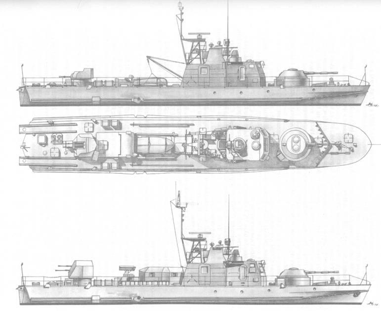 Артиллерийский катер пр. 1204 ранней (вверху) и поздней (внизу) постройки