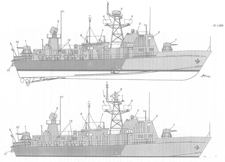 Схема внешнего вида артиллерийских катеров пр. 205П ранней (вверху) и поздней (внизу) постройки: