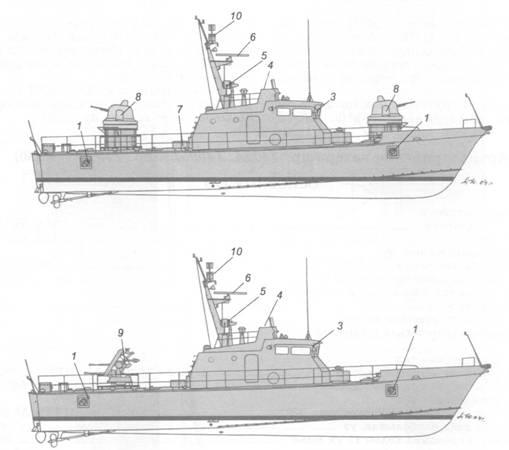 Схема внешнего вида артиллерийских катеров пр. 1400 (вверху), пр. 1400М (в центре) и пр. 1400МЭ (внизу):